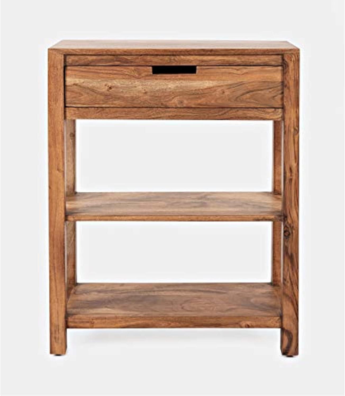 Jofran Reynolds Solid Acacia Storage Shelf Table, 24''L x 10.25''W x 30''H, White Wash