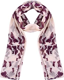 BESPORTBLE Butterfly Scarf Printed Long Comfortable Fashion Shawl Wrap Soft Neckerchief Voile Scarf for Women Ladies Girl...