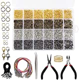 Quefe 4294pcs Jump Rings Kit Jewelry Repair Kit for Jewelry Making and Necklace Repair with Open Jump Rings, Lobster Clasp, Black Lasso Strap, Colorful Waxed Necklace Cord, Jewelry Pliers