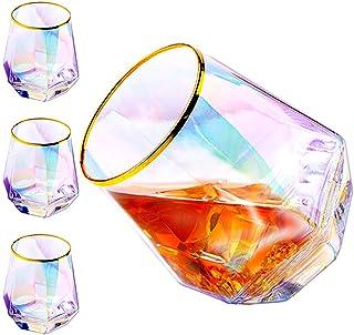 Diamant-Whiskey-Gläser, Set mit 4 Steinen, Regenbogen-Gläser, Goldglas, Tumbler, einzigartige Thanksgiving-Gastgeberin, Geschenke für Frauen, Männer, Familie Regenbogen