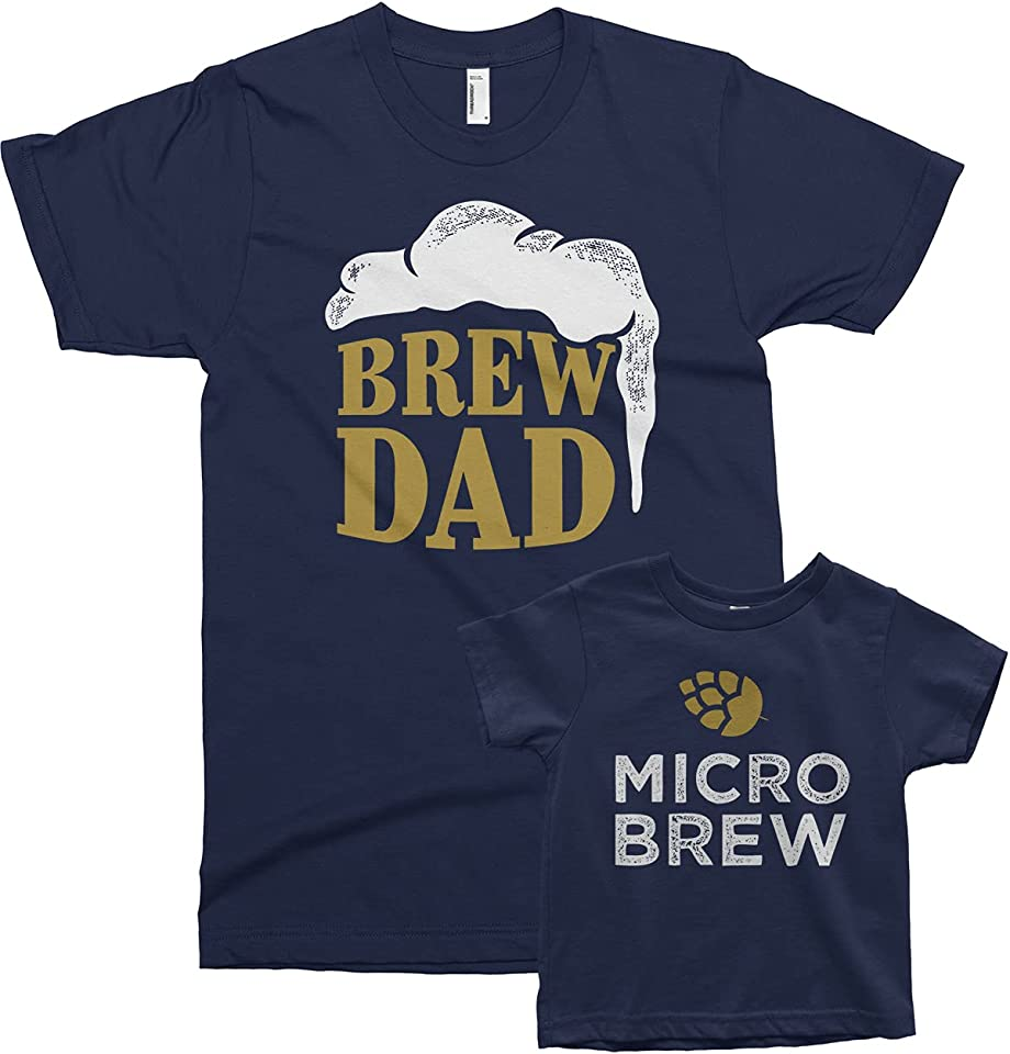 Threadrock Brew Dad & Micro Brew - Father Baby Toddler Matching Shirts Set