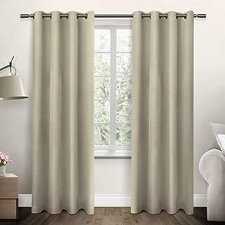 Exclusive Home Curtains Jakarta Textured Basketweave Grommet Top Window Curtain Panel Pair, Linen, 54x96