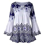 Alangbudu Women Blouse Casual Keyhole Crewneck T Shirt Bell Long Sleeve Printed Flowy Long Swing Tunic Tops for Leggings Blue