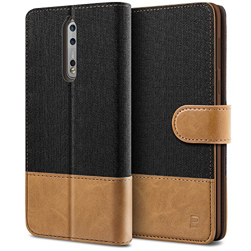 BEZ Hülle für Nokia 8 Handyhülle, Schutzhülle Kompatibel für Nokia 8 Hülle Handytasche Tasche [Stoff & PU Leder] mit Kreditkartenhaltern, Schwarz
