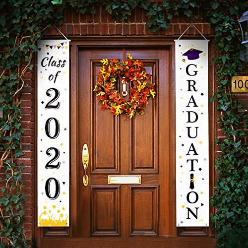 Kgihope 2020 Graduation Banners, Door Porch Hanging Graduation Banner Decorations Signs College, High School Party Supplies, Banner Hanging Decoration for Indoor Outdoor Wall Graduation Decoration
