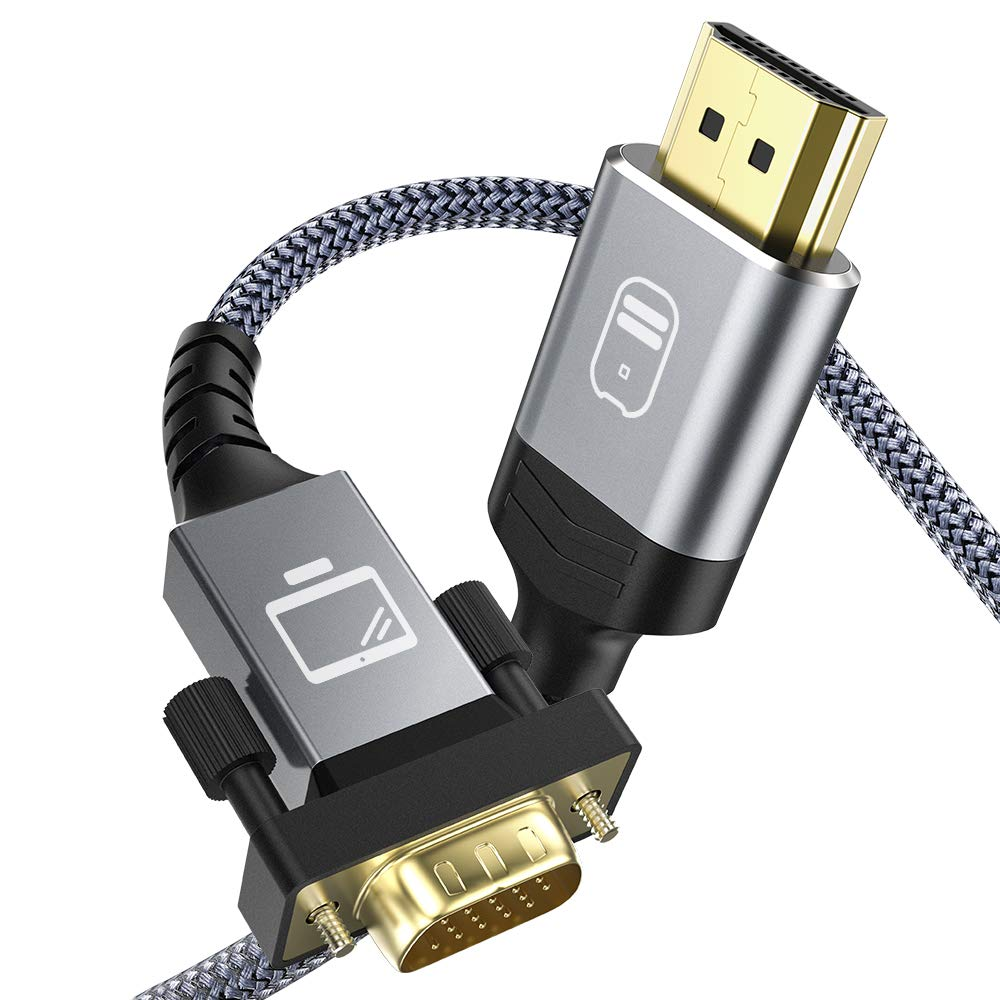 Cable HDMI a VGA 1.8m, Snowkids Cable HDMI VGA Macho [1080P Full HD, Chapado en Oro, Trenzado Nylon Duradero] Convertidor Video Activo Soporte PC Reproductor DVD TV portátil Proyector Monitor etc: Amazon.es:
