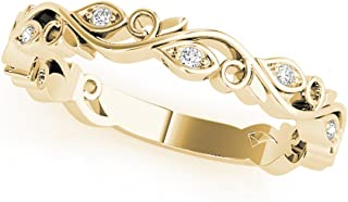 Diamond Delicate Engagement Wedding Band In 10K Solid Yellow Gold