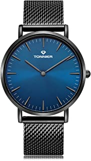 Tonnier Black Slim Stainless Steel Mesh Strap Mens Watch Ocean Depths Blue Watch Face