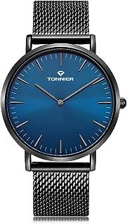 Tonnier Black Slim Stainless Steel Mesh Strap Mens Watch Ocean Depths Blue Watch Face