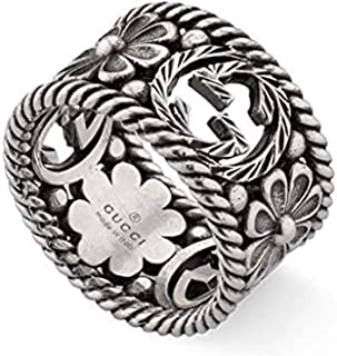 Gucci Interlocking G Silver Ring 12mm Size -7 1/4 YBC577272001015