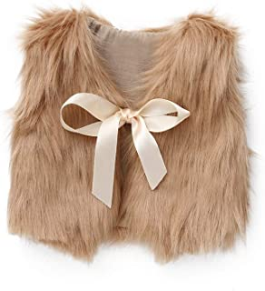 WARMSHOP Toddler Girls Waistcoat, Pure Color Sleeveless Bowknot Ribbon Faux Fur Fall Winter Thick Warm Outwear Vest