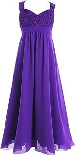iEFiEL Big Girls Elegance Wedding Flower Girl Lace Chiffon Prom Dress Long Evening Gown