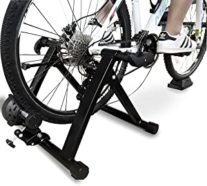 BalanceFrom Bike Trainer Stand Steel Bicycle Exercise Magnetic Stand with Front Wheel Riser Block, Black