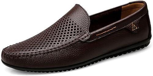 ZLLNSPX Mens Casual Lederschuhe Britischen Stil Hohlen Schuhe Peas Schuhe