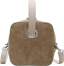 QZUnique Women's Frosted PU Handbag Solid Color Crossbody Square Top-Handle Shoulder Bag