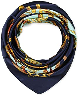 "Elegant Women's Neckerchief Silk Feeling Satin Square Scarf Wrap 35"" Chain Magic Mint and Navy by corciova"