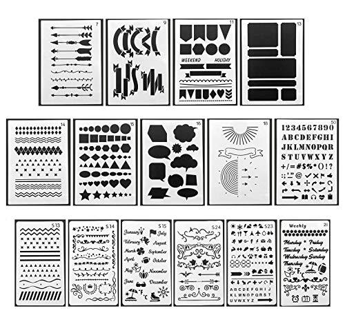 DUOUPA Zeichenschablonen Bullet Journal Schablone Set aus Kunststoff 15 Stück Schablonen Muster-Schablonenmalerei für Scrapbooking DIY