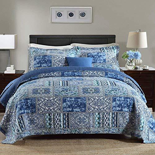Qucover Colcha Azul para Cama 150 o Cama 135,Manta Verano bouti Pique, Sobrecama Ropa de Cama,Cubierta Cama Reversible con 2 Fundas de Almohada