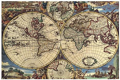 Luufei 1500-piece - Creativo Mapa Antiguo Globo terráqueo Planeta Tierra Arte Abstracto Imagen Cumpleaños Navidad Regalos de Bricolaje Rompecabezas de Madera