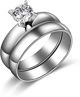 Ginger Lyne Collection 4mm Stainless Steel Engagement Wedding Ring Matching Band