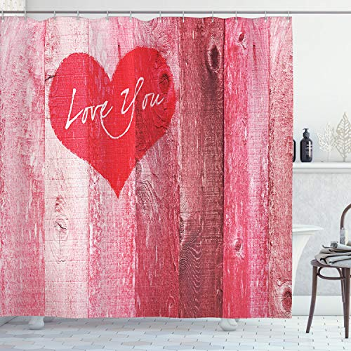 Ambesonne Love Shower Curtain, Love You Heart on Grunge...