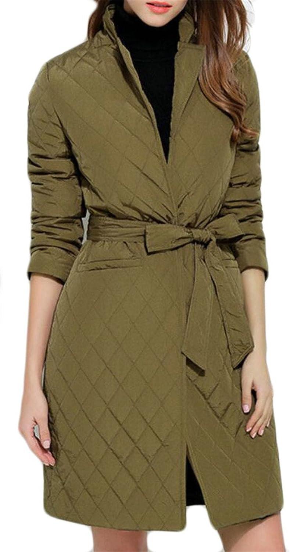Desolateness Women's Fashion Lightweight Long Sleeve Down Puffer Parka Jacket Coat with Belt