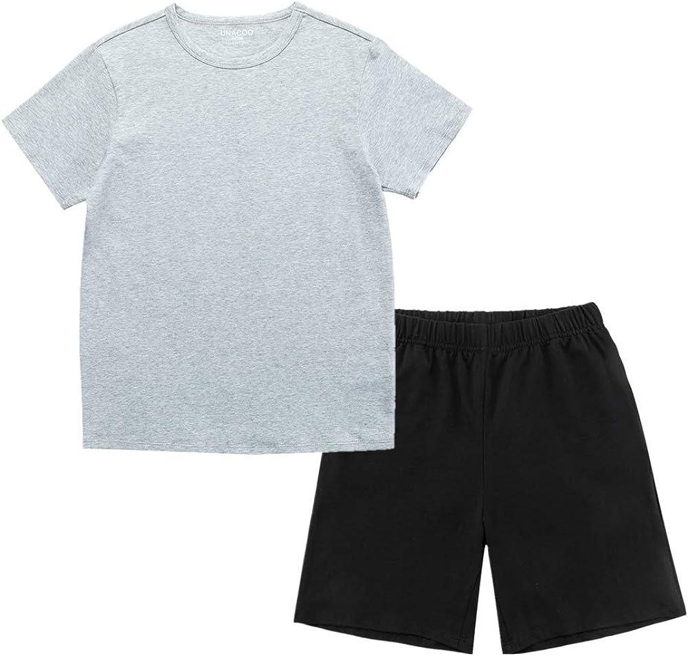 UNACOO Kids Casual Stretchy Tee and Shorts Sleepwear Short Sleeves Pajama Sets for Boys and Girls(Grey tee+Black Shorts, m)