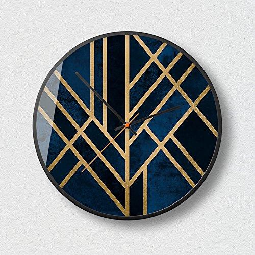 Horloges murales cadre en métal abstrait silencieux et non-coutil 12.0 pouces Grand cadran horloge à quartz pour salon/chambre/bureau à piles (taille : D)