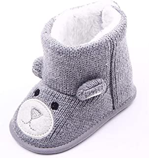 MeterMall 0-1 Years Old Cute Boy Girls Baby Soft Sole Snow Boots Soft Shoes Toddler Boots Gray 12cm Toys