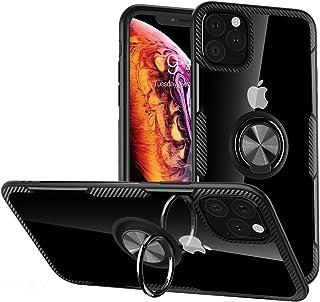 WATACHE iPhone 11 Pro Max Hülle, Crystal Clear Carbon Design Rüstungsschutzhülle mit 360 Grad Drehung Fingerring Grip Holder Kickstand für Apple iPhone 11 Pro Max,Schwarz