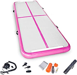 Seeutek Inflatable TumblingGymnastics Mat Airtrack - Kid Pro Gymnastics Mat for Home - 10feet x 3feet Air Track Tumbling Floor Mats - Pump and Repair Kit Included - for Home Beach Park and Water Use