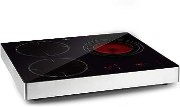 Klarstein TrinityCook Hybrid – placa de cocina combi, cerámica e inducción, independiente, control táctil, programable, 9 niveles, de 60 a 240 °C, no se recalienta, 3400 W, 3 zonas de cocción, negro