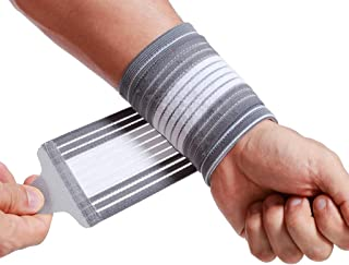 Neotech Care Wrist Band (1 Unit) - Adjustable Compression Strap - Elastic & Breathable Fabric - Support Sleeve for Tennis,  Sports,  Exercise - Men,  Women,  Right or Left - Grey Color (Size M)