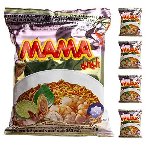 Ramen Mama | Fideos Instantáneos 5 paquetes de 60gr | Fácil de preparar | Noodles de Tailandia (Gamba, 5)