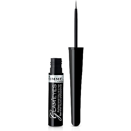 Rimmel London Eyeliner Liquido Glameyes, Lunga Durata, Finish Opaco e Tratto Sottile, 001 Nero/Black Glamour, 3.5 ml