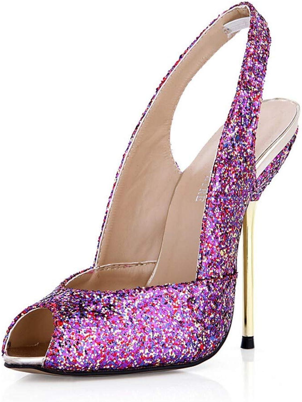 IWlxz Women's Synthetics Fall Spring & Summer Classic Minimalism Sandals Stiletto Heel Peep Toe Black Silver Purple Wedding Party & Evening