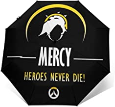 Mercy Heroes Never Die Ov-erwatch Windproof Compact Auto Open And Close Folding Umbrella,Automatic Foldable Travel Parasol Umbrella