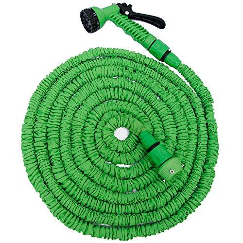 EYEPOWER Hochwertiger Gartenschlauch Flexibler Wasserschlauch Schlauch 7m-15m inkl 7fach Multifunktions Sprühkopf Grün