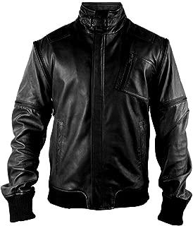 UZ Global Chameleon Zip-Off Black Bomber Mens Leather Jacket (Regular Big & Tall)