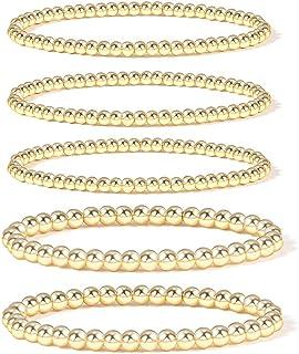 Gold Beaded Bracelets for Women,14K Gold Plated Bead Ball Bracelet Stretchable Elastic Bracelet