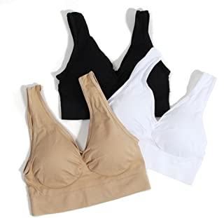 Plus Size Women Sports Bra Padded 3 Pack Workout Fitness Yoga Sleeping Bra  Tops