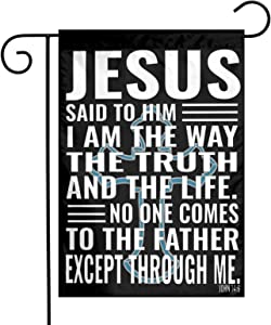 Jesus The Way Truth Life Garden Flag 12 x18 Inch House Jesus Flag Yard Decor for Home Decorative Yard Deluxe Outdoor Banner