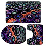WVOVW 3pcs/Set Thick Flannel Non-Slip Colorful Audio Picture Toilet Floor Rug Toilet Seat Cover Mat