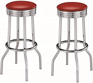 Cleveland Round Base Bar Stools Red and Chrome (Set of 2)