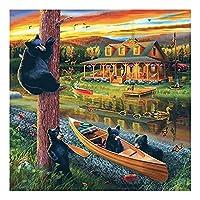大人のための1500ピースのパズルジグソーパズルBlack bear大人と子供のための最高の贈り物、雄大な家族のゲーム、大人のための木製パズル 家庭旅行のための大きなジグソーパズルキッズ教育ゲームおもちゃギフト
