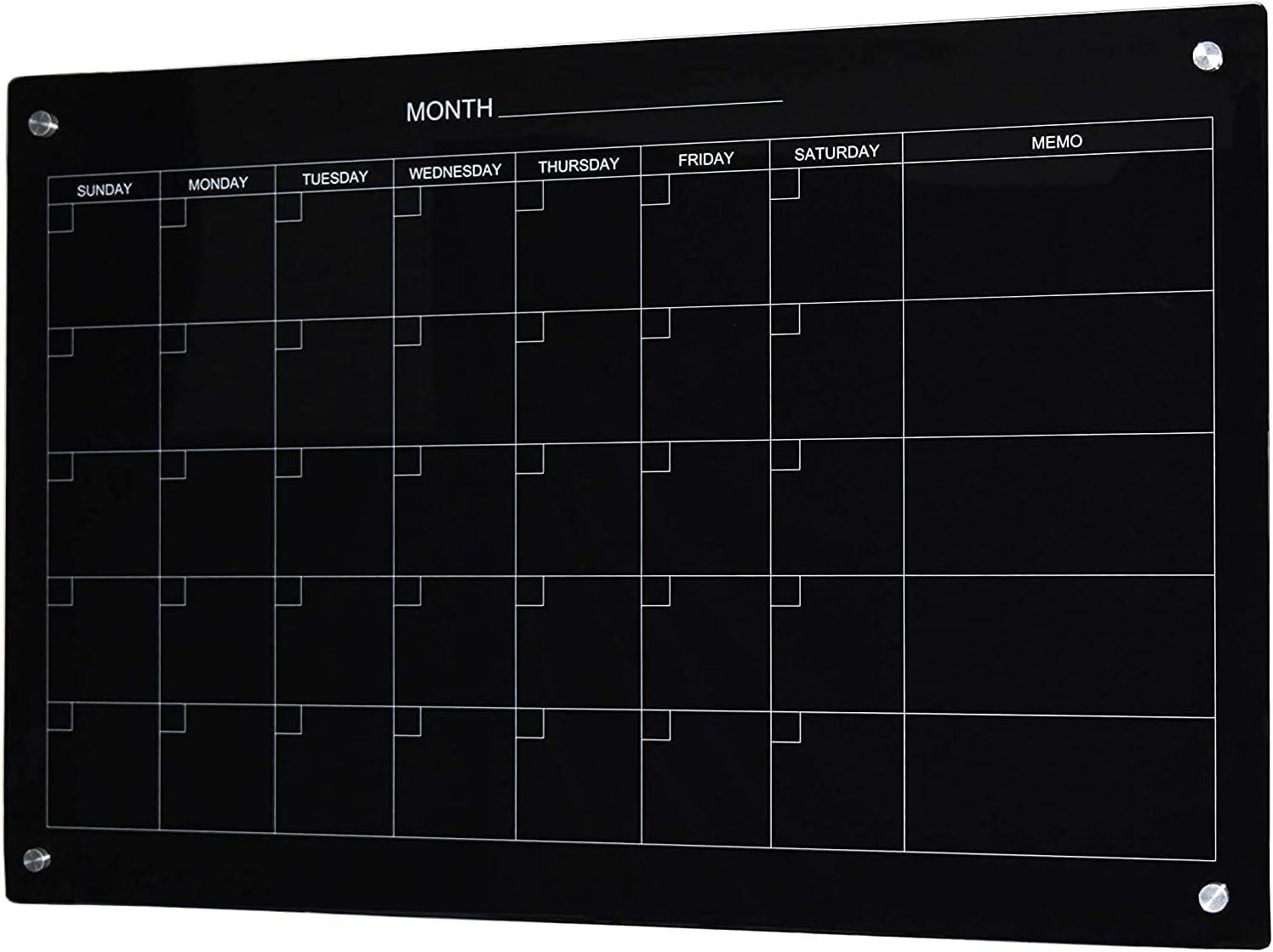 Audio-Visual 激安通販 全店販売中 Direct Magnetic Black Calendar Dry-Erase Boar Glass
