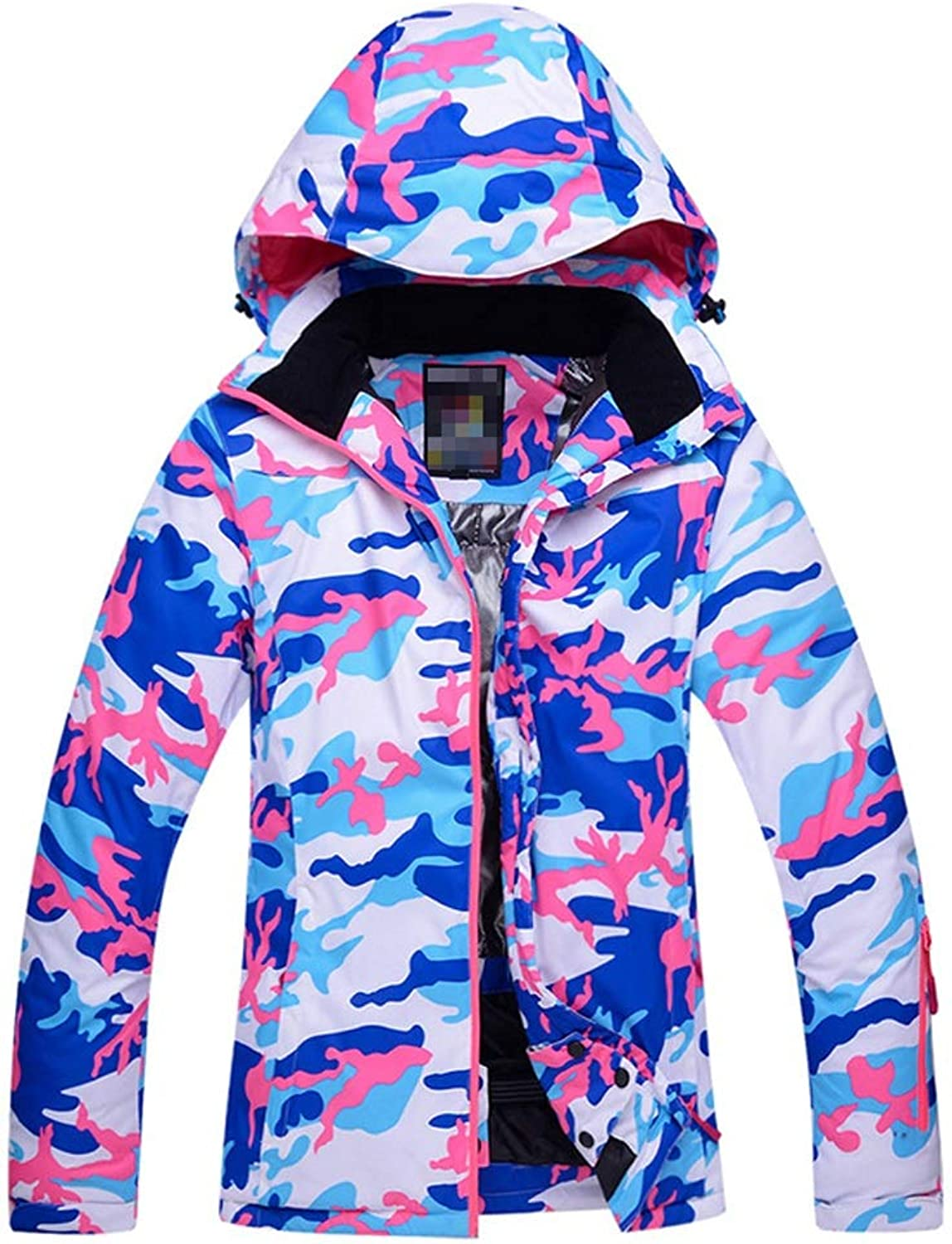 Warm ski suit Winter Coat Outdoor Jacket With Removable Hood, Storage Pockets Windproof and cold-proof warm jacket (color   bluee camouflage, Size   S)