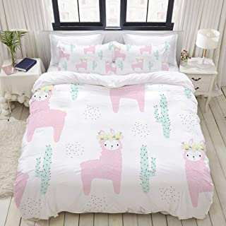 "Mokale Twin Size Duvet Cover,Cute Pink Llama Floral Wreath Seamless,Decorative 3 Piece Bedding Set with 2 Pillow Shams,Zipper Closure,Ultra Soft 68"" 86"""
