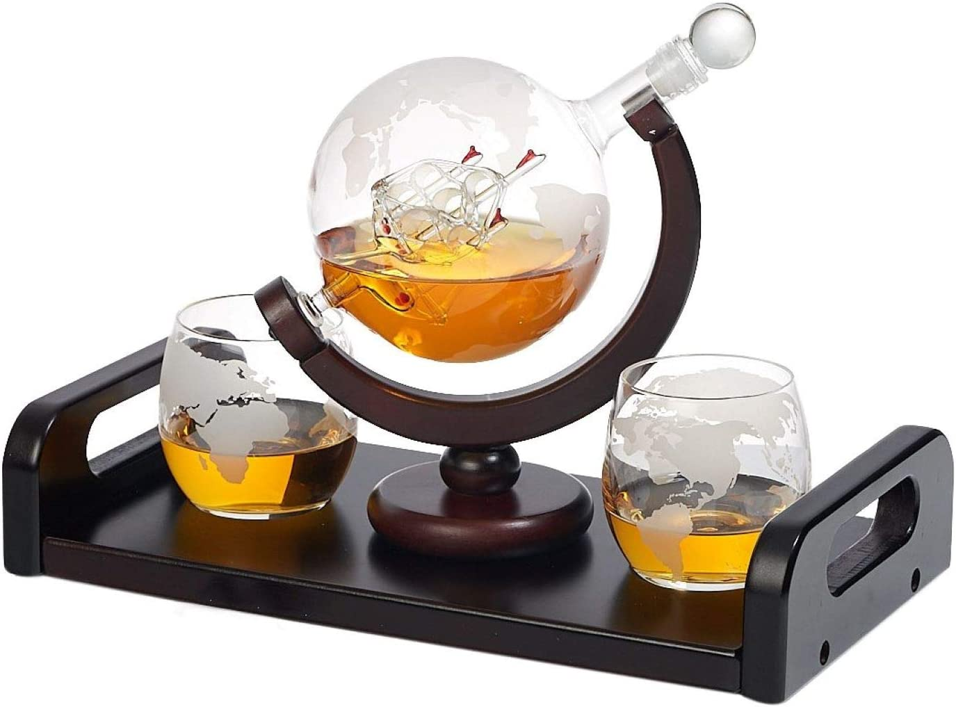 Bezrat Minneapolis Mall Etched Globe Las Vegas Mall Whiskey Decanter 2 + Glasses Oz. 10