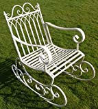 Brilliant Wall Art Victorian Style Metal Garden Rocking Chair In A Shabby Chic Finish